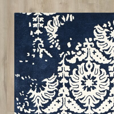 Fernville Hand-Tufted Navy / Ivory Area Rug