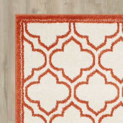 Carman Ivory / Orange Indoor / Outdoor Area Rug Rug Size: Runner 23 x 9