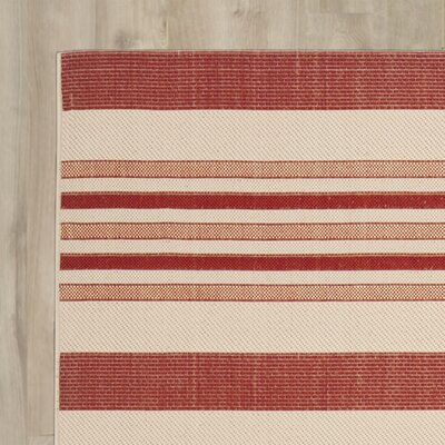 Alderman Beige / Red Indoor / Outdoor Area Rug