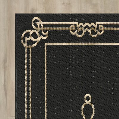 Octavius Black / Creme Indoor / Outdoor Area Rug Rug Size: Runner 27 x 82