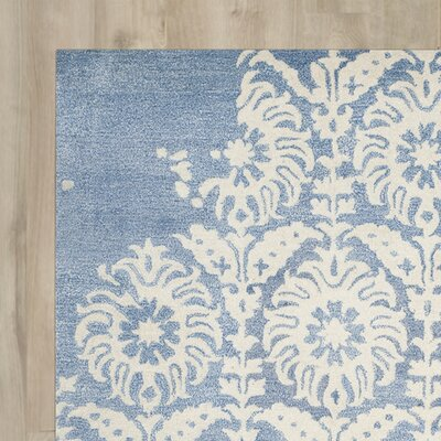 Fernville Hand-Tufted Light Blue/Ivory Area Rug Rug Size: Square 5