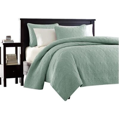 Seys Cotton Coverlet Set Color: Seafoam, Size: California King