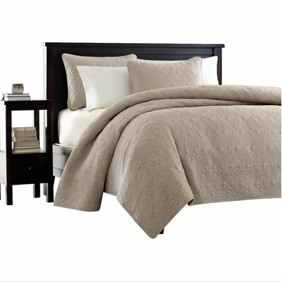 Seys Cotton Coverlet Set Color: Khaki, Size: King / California King