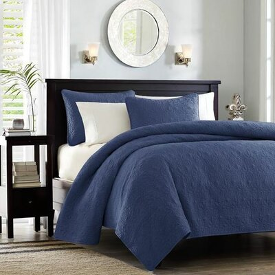 Seys Cotton Coverlet Set Color: Navy, Size: California King