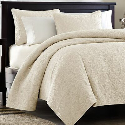 Seys Cotton Coverlet Set Size: Full / Queen, Color: Ivory