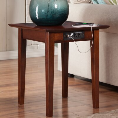 Ithaca End Table with Charging Station Color: Walnut