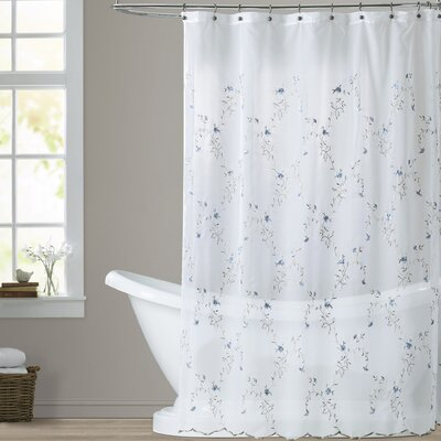 Parkes Shower Curtain Color: White / Blue