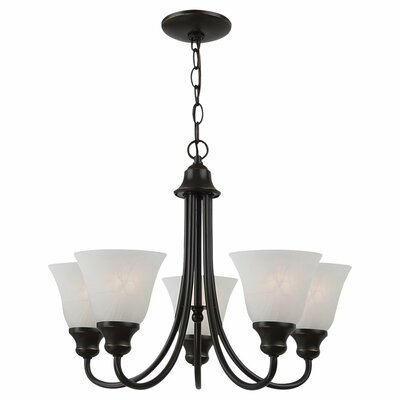 Hartford 5-Light Shaded Chandelier Finish: Heirloom Bronze, Bulb Type: 13W GU24 Fluorescent