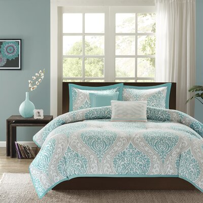 Oliver Comforter Set Size: Twin / Twin XL, Color: Aqua