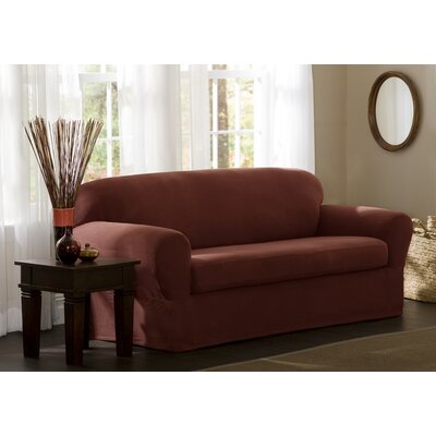 StretchTwo Piece Loveseat Slipcover Upholstery: Red