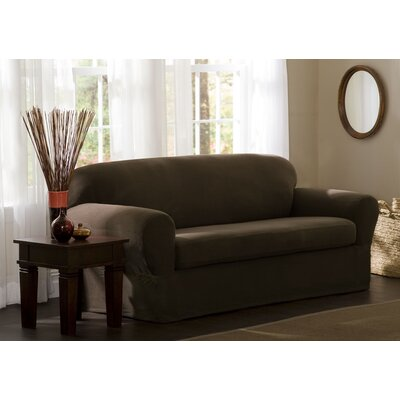StretchTwo Piece Loveseat Slipcover Upholstery: Chocolate