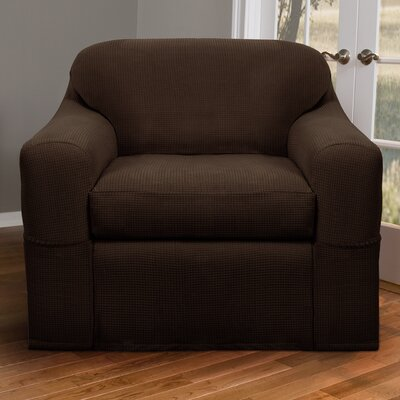 Blissfield Stretch Two Piece Armchair Slipcover Upholstery: Chocolate