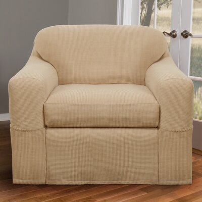 Stretch Two Piece Armchair Slipcover Upholstery: Natural