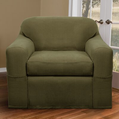 Blissfield Stretch Two Piece Armchair Slipcover Upholstery: Dark Sage