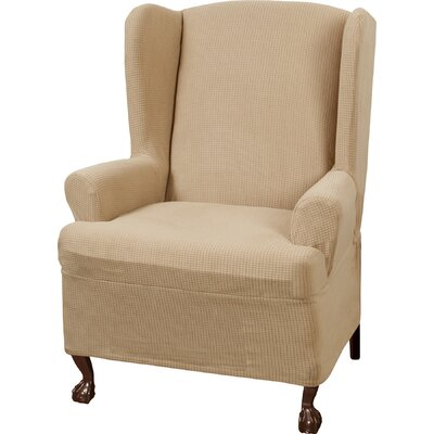Stretch One Piece Wing Chair T-Cushion Slipcover Upholstery: Natural