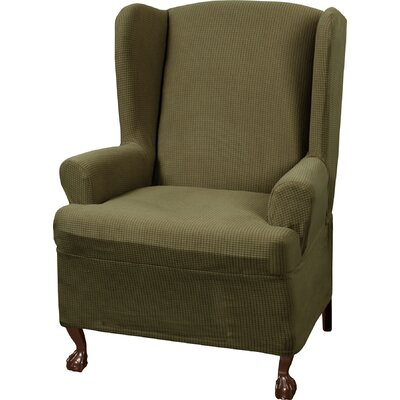 Blissfield Stretch One Piece Wing Chair T-Cushion Slipcover Upholstery: Dark Sage