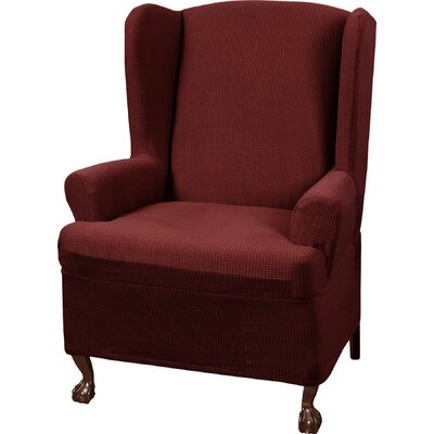 Stretch One Piece Wing Chair T-Cushion Slipcover Upholstery: Red