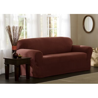 Stretch One Piece Sofa Slipcover Upholstery: Red