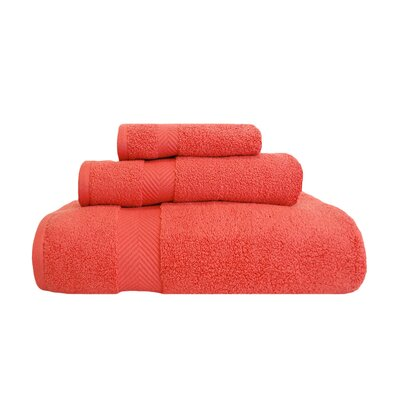 Zero-Twist 3 Piece Towel Set Color: Coral