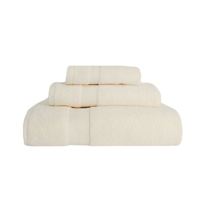 Zero-Twist 3 Piece Towel Set Color: Ivory