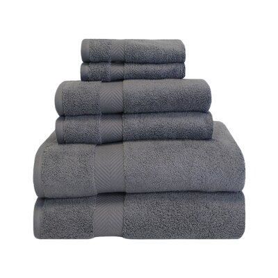 Superior Zero Twist 6 Piece Towel Set Color: Grey