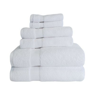 Clayton 6 Piece Zero-Twist Towel Set Color: White