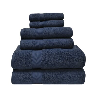Superior Zero Twist 6 Piece Towel Set Color: Midnight