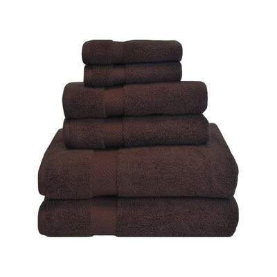 Clayton 6 Piece Zero-Twist Towel Set Color: Espresso
