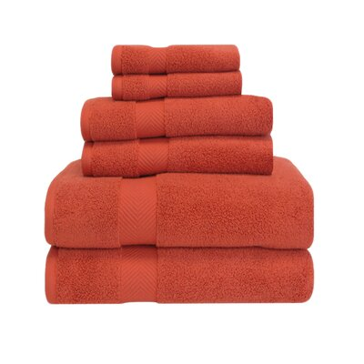 Clayton 6 Piece Zero-Twist Towel Set Color: Brick