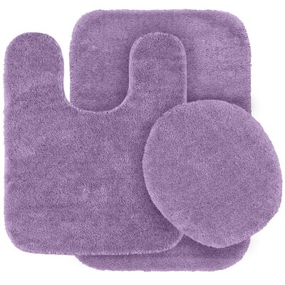 Stanley 3 Piece Rufford Bath Rug Set Color: Purple
