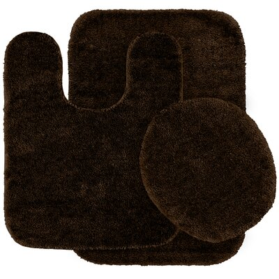 Stanley 3 Piece Rufford Bath Rug Set Color: Chocolate