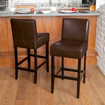 Ridgedale 29 Bar Stool Upholstery: Brown