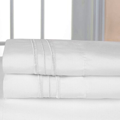 Searsmont 1500 Series Collection Ultra-Soft Embroidered Pillowcase Size: King, Color: White
