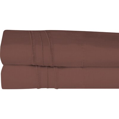 Searsmont 1500 Series Collection Ultra-Soft Embroidered Pillowcase Size: King, Color: Brown