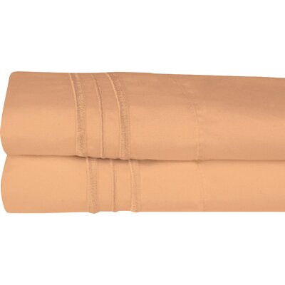 Searsmont 1500 Series Collection Ultra-Soft Embroidered Pillowcase Size: Standard, Color: Camel