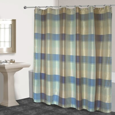 Dempsey Plaid Shower Curtain Color: Blue