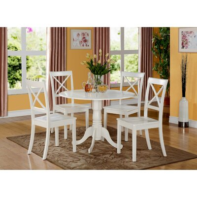Abrahamic 5 Piece Drop Leaf Linen White Dining Set