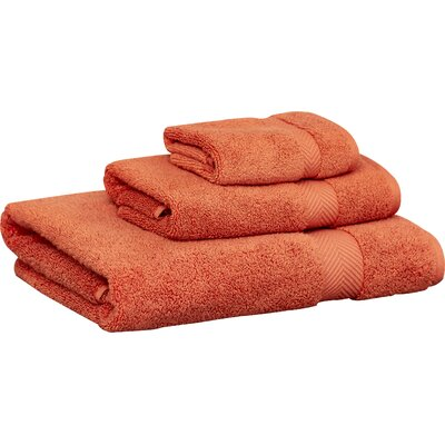 Zero-Twist 3 Piece Towel Set Color: Brick