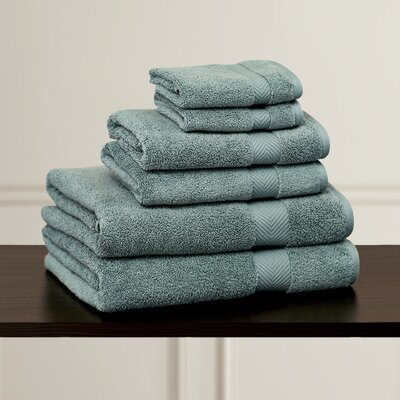 Clayton 6 Piece Zero-Twist Towel Set Color: Jade