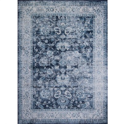 Corydon Distressed Blue Area Rug Rug Size: 33 x 43