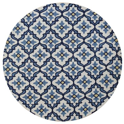 Edinburgh Handmade Ivory/Blue Indoor/Outdoor Area Rug Rug Size: Round 76