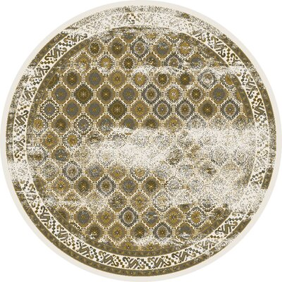 Griffith Ivory Area Rug Rug Size: Round 77
