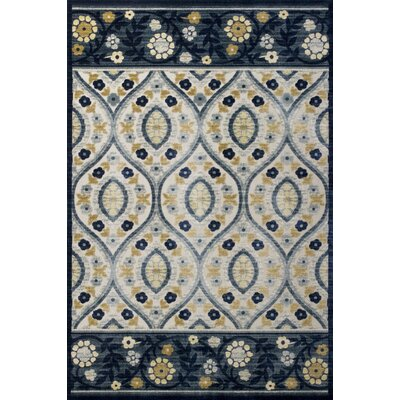 Morgantown Ivory Blue Area Rug Rug Size: 53 x 77