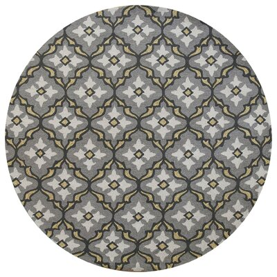 Edinburgh Handmade Gray/Gold Indoor/Outdoor Area Rug Rug Size: Round 76