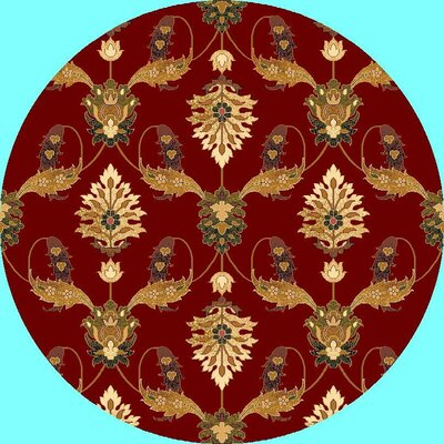 Greenfield Red Area Rug Rug Size: Round 77