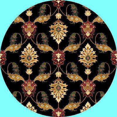 Greenfield Black Area Rug Rug Size: Round 77