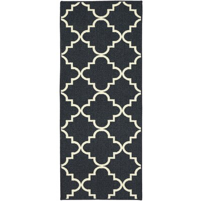 Hanley Navy Blue & White Area Rug Rug Size: 2 x 8