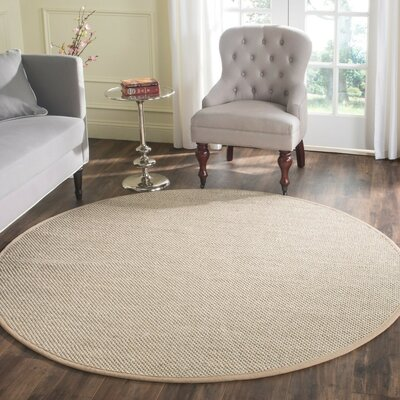 Columbus Marble / Linen Area Rug Rug Size: Round 6'