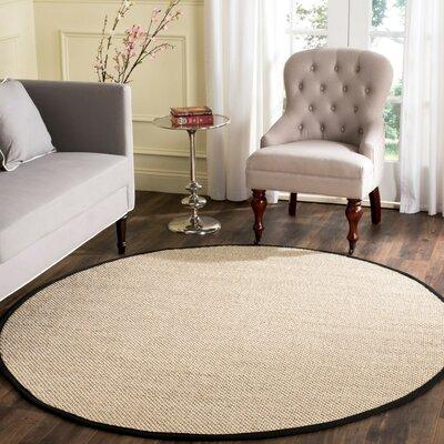 Columbus Marble / Black Area Rug Rug Size: Round 6