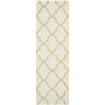 Gillam Hand-Tufted Ivory / Light Green Area Rug Rug Size: Runner 26 x 8